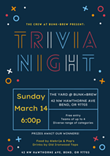Trivia Night in The Yard @ Bunk+Brew! - Uploaded by BunkandBrew