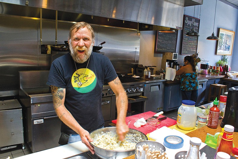 ALOHA David Nicholas at Ono'z, where food is served 'island style' on Guernevlle's Main Street. - NADAV SOROKER