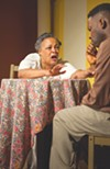 <b>AMEN TO THAT</b> Cathleen Riddley tries to keep Rotimi Agbabiaka from leaving the flock in 'Amen Corner.'