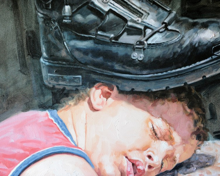 'AQUI Y AHERA' Franklin Álvarez Fortún's 2009 painting greets visitors to 'Revolutionary Island.'