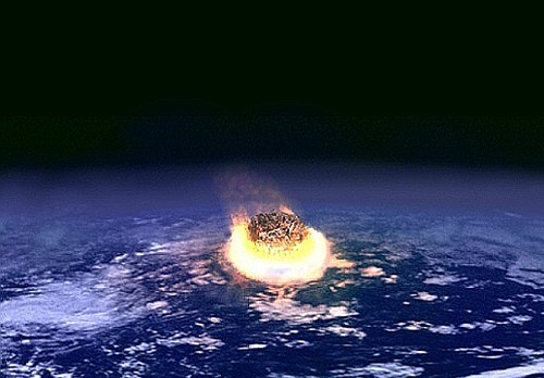 Artists rendition of a giant asteroid about to smash into Earth.