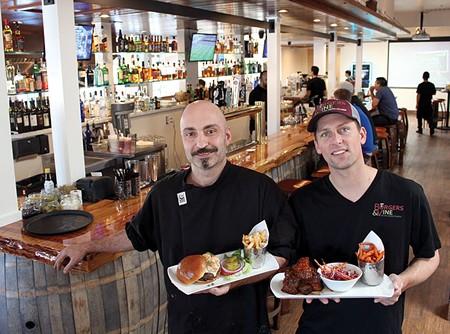 BURGERLICIOUS Chef Carlo Cavallo and proprietor Codi Binkley show off some tasty meat at their Sonoma restaurant.