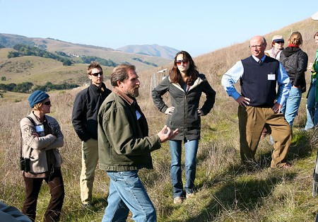 CARBON KING Jeff Creque explains grasses and soils on the Marin Carbon Project's test plot. - STETT HOLBROOK