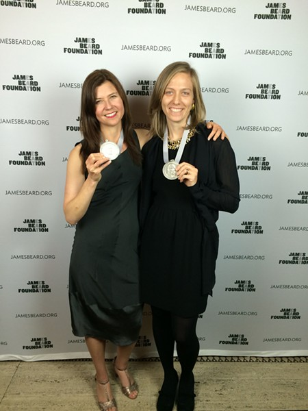 "Civil Eats' Naomi Starkman, left, and Paula Crossfield celebrate their ""publication of the year"" award from the James Beard Foundation."