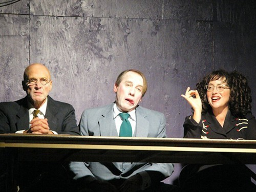 Eliot Fintushel, Brent Lindsay and Layla Musslewhite as the Town Council