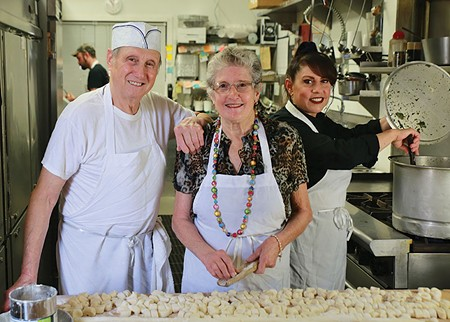FAMILY TIES Clemente Cittoni, his wife, Mary, and daughter, Joanne Cittoni Gonzalez, take a break from making pasta on prep day at Cittoni's Authentic Italian Takeout. - WILL BUCQUOY