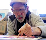 FINISHING TOUCHES: Fred Lund contributes a portrait of Wes Chesbro in Becoming Independent's new show.