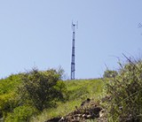 HILLTOP HUBBUB: A placeholder tower stands where a 'monopine' would be erected on land owned by the Boy Scouts.