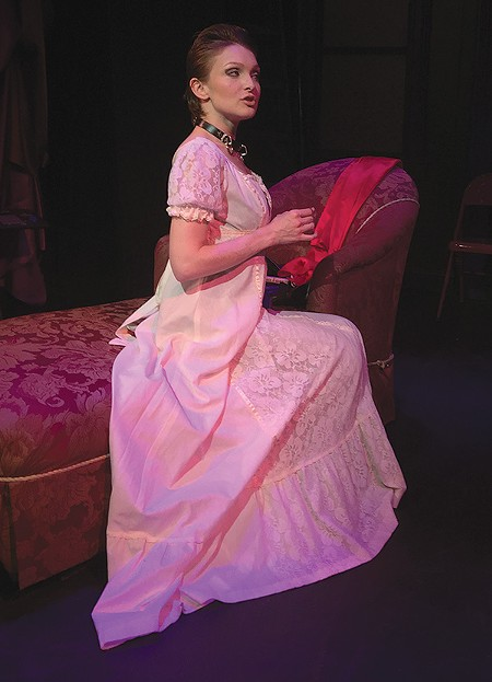 LEATHER AND LACE Rose Roberts nails her role as Vanda, a dominatrix in David Ives' play. - E. H. CRAVEN