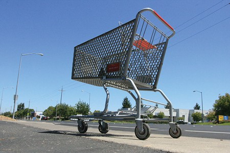NEED HELP OUT? Abandoned shopping carts along Santa Rosa Avenue underscore the need for closer grocery stores. - GABE MELINE