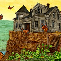 "Ricky Watts, ""Destination Unknown"" Pen and ink, colored pencil and watercolor on watercolor board, 2012. Ricky Watts"