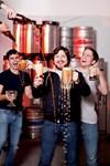 REIGN IN BEER: Eliott Whitehurst, Shane Goepel and Alex Whitehurst (L-R) revel in their various homemade libations.