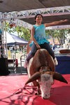 Riding the mechanical bull at the 2012 Sonoma County Fair