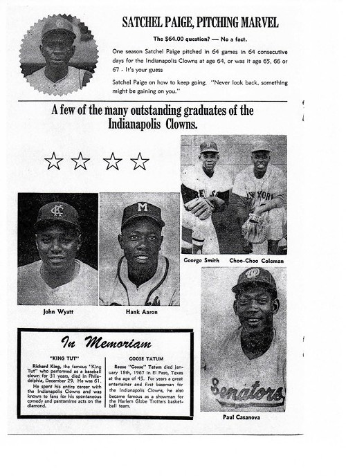 Satchel Paige featured in the Clowns souvenir program from the 1960s