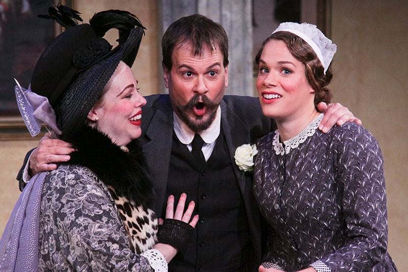 SAUCY Krista Wigle, Eugene Walden and Kelly Britt fight a battle of love and lust in 'The Marriage of Figaro.' - ERIC CHAZANKIN
