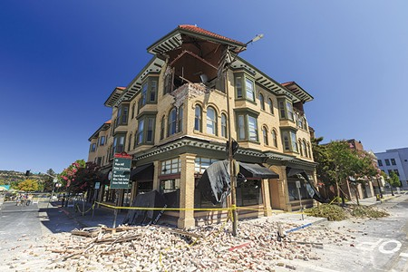 SHAKEN AND STIRRED This building at Second and Brown streets offered dramatic testament to the quake's power.