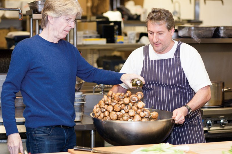 'SHROOM UNION Phil Lesh helps chef Chris Fernandez with musroom prep in Terrapin's kitchen. - COURTESY TERRAPIN CROSSROADS