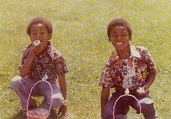 SWEET YOUTH Andre and his cousin Carlos at Easter. - JOHNETTA DEDRICK