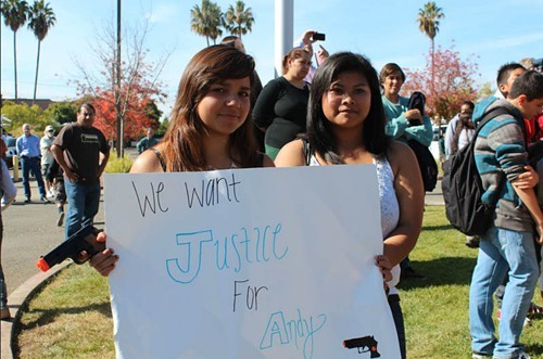 Teens show support for Andy Lopez at a protest at the Sonoma County Sheriffs office earlier this year.