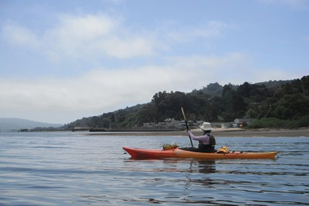 THE GLOW BELOW The author paddles across Tomales Bay, site of a natural light show called marine bioluminiscence.