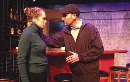 THE INSIDE JOB Ilana Niernberger hears the weird truth from Anthony Abaté in 'Yankee Tavern.'
