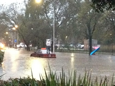 The scene in downtown Healdsburg early this morning was a wet one and getting wetter.