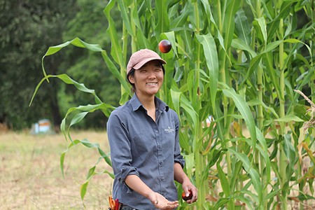 THREE-STAR FARMER Christine Kim grows 80 percent of Meadowwood's produce on the grounds of nearby St. Helena Montersorri School.