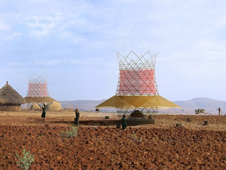VAPOR WISE Italian-designed fog catchers in Ethiopia reach 30 feet tall.