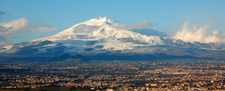 Mt. Etna towers above Palermo, Sicily.