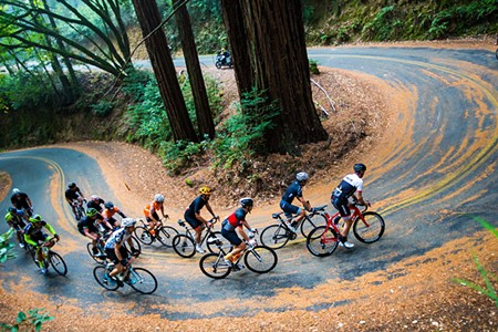 Riders negotiate a hairpin turn. - ALEX CHIU