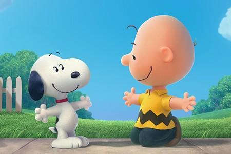 SNOOP HUG Charlie Brown embraces his fame in new Peanuts flick.