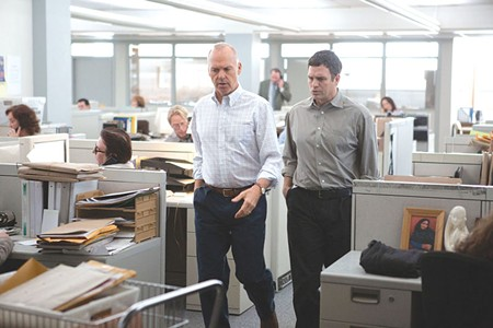 ON THE BEAT Michael Keaton, left, and Mark Ruffalo are thankful they weren't altar boys in new Tom McCarthy film.