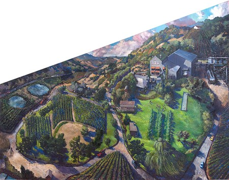 MESSAGE ON A BOTTLE This label by Chester Arnold depicts Glen Ellen's Imagery Estate Winery from above.