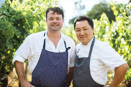 TWO BIRDS ARE BETTER THAN ONE Doublas Keane, left, and L.A. chef Sang Yoon have teamed up to open Two Birds/One Stone, and upscale yakitori restaurant in St. Helena. - MICHAEL WOOLSEY