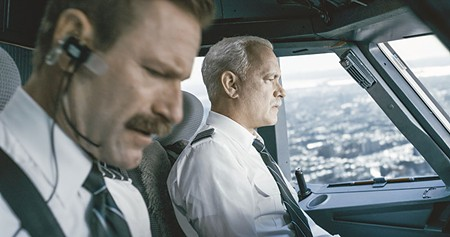 TAKE ME TO THE RIVER  Tom Hanks, right,  plays the cool-under-pressure pilot Chesley Sullenberger, who successfully crash-landed on the Hudson River in 2009.