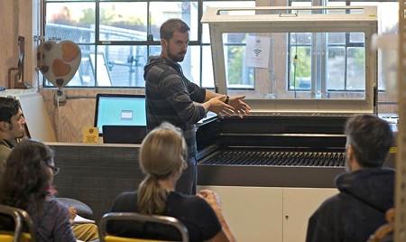 LASER FOCUS  Chimera founder Dana Woodman demonstrates how to use the Sebastopol makerspace's laser cutter.