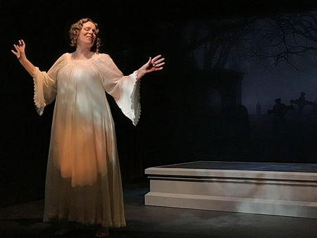 AFTER PARTY Mary Shelley (Sherri Lee Miller) rises from her tomb to tell her story. - ELIZABETH CRAVEN