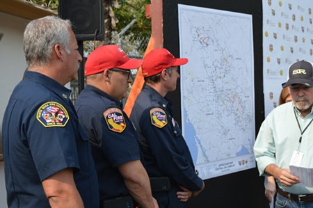 SRFD Chief Anthony Gossner with Cal-Fire colleagues. - TOM GOGOLA