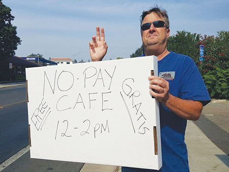 COME AND GET IT Sonoma city council member David Cook advertises - No Pay Café in Boyes Hot Springs. - JAMES FANUCCHI