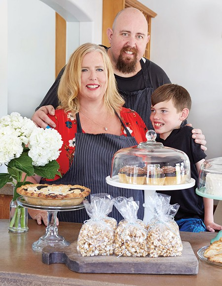 FAMILY MEAL Michele Wimborough owns Hazel Restaurant with her husband and chef, Jim Wimborough. We're guessing their son, Graham, gets free cupcakes.