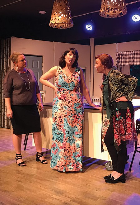 COFFEE KLATCH Angela Squire, center, dates a serial killer in the funny 'Women in Jeopardy.' - ARGO THOMPSON