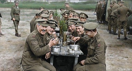BAND OF BROTHERS Digitally cleansed and colorized footage from 