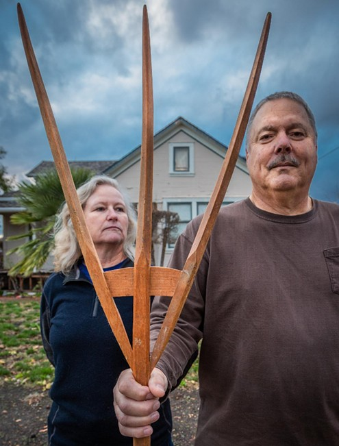 Joyce and Steve Torrigino pose in front of their home on Lake Street in Calistoga. - CLARK JAMES MISHLER