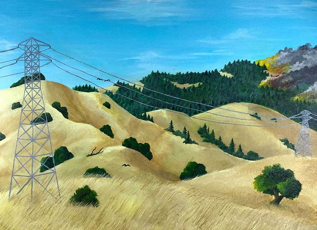 """Justice Faustina of Justin Siena High won First Place in Napa Valley Museum's student-curated exhibit with the painting """"Man Made Natural Disaster."""""""