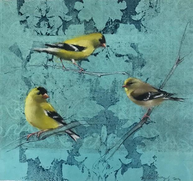 FLIGHTS OF FANCY North Bay monotype artist Sylvia Gonzalez's 2019 artwork 'Goldfinches' displays in new Napa Valley exhibit.