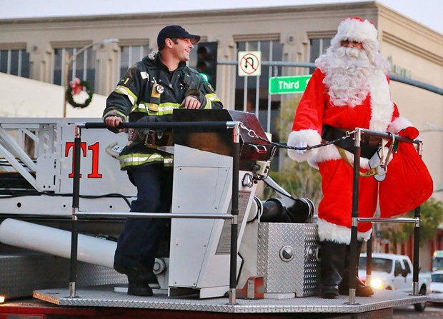COMING TO TOWN Santa Claus and the Santa Rosa Fire Department teamed up for the city's Winter Lights event last year. In 2020, Winter Lights will be an entire season of family-friendly activities. - PHOTO COURTESY SANTA ROSA METRO CHAMBER