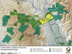 WILDLIFE CORRIDOR The Sonoma Development Center has 1,000 acres of undeveloped open space.