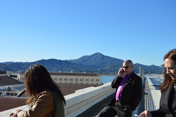 San Quentin warden Ron Davis on the rooftop North Segregation Yard, with the beautiful peak of Mt. Tamalpais providing your poignant backdrop for the day. - TOM GOGOLA