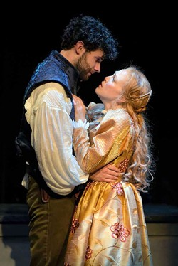 LOVELY Adam Magill plays Shakespeare, and Megan Trout is Viola in 'Shakespeare in Love.' - KEVIN BERNE