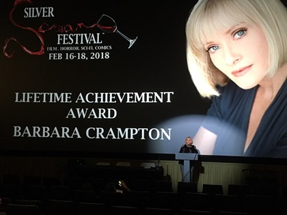 Barbara Crampton thanks the fans during her Silver Scream  Lifetime Achievement Award acceptance speech.